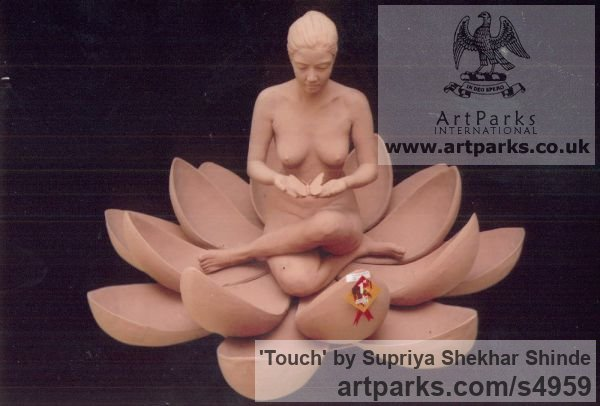 Fiber Portrait Sculptures / Commission or Bespoke or Customised sculpture by sculptor Supriya Shekhar Shinde titled: 'Touch (Squatting Seated Woman in a Lotus Flower sculpture)' - Artwork View 4