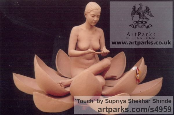Fiber Portrait Sculptures / Commission or Bespoke or Customised sculpture by sculptor Supriya Shekhar Shinde titled: 'Touch (Squatting Seated Woman in a Lotus Flower sculpture)' - Artwork View 5