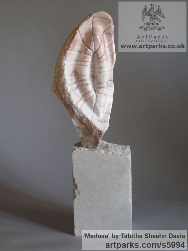 Marble Carved Stone, Marble, Alabaster, Soap Stone Granite Lime stone sculpture by sculptor Tabitha Sheehn Davis titled: 'Medusa (Carved marble abstract shell like sculptures/statues/statuette)'