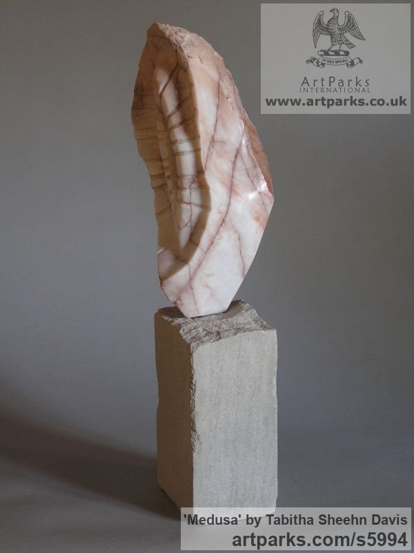 Marble Carved Stone, Marble, Alabaster, Soap Stone Granite Lime stone sculpture by sculptor Tabitha Sheehn Davis titled: 'Medusa (Carved marble abstract shell like sculptures/statues/statuette)' - Artwork View 3