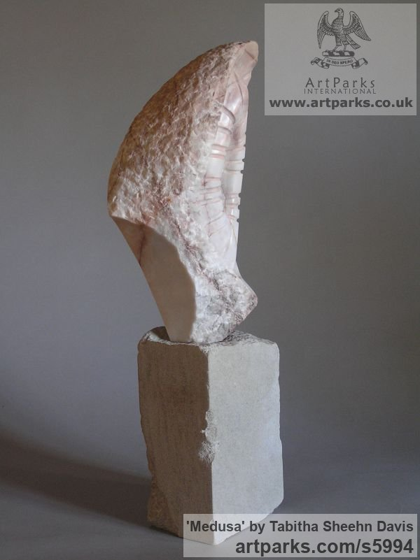 Marble Carved Stone, Marble, Alabaster, Soap Stone Granite Lime stone sculpture by sculptor Tabitha Sheehn Davis titled: 'Medusa (Carved marble abstract shell like sculptures/statues/statuette)' - Artwork View 4