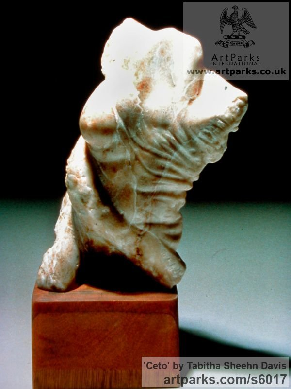 Alabaster Human Form: Abstract sculpture by sculptor Tabitha Sheehn Davis titled: 'Ceto'