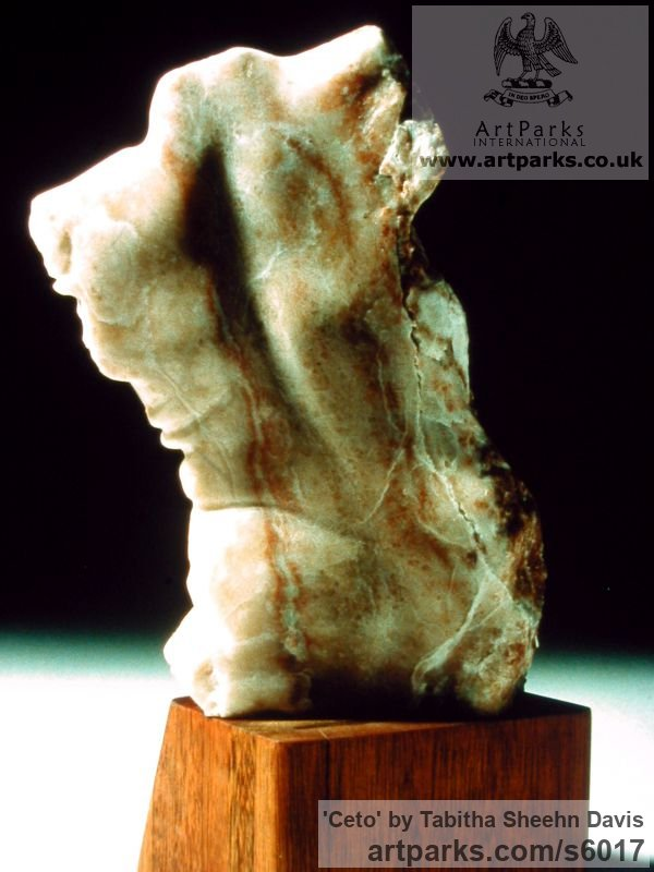 Alabaster Human Form: Abstract sculpture by sculptor Tabitha Sheehn Davis titled: 'Ceto' - Artwork View 2