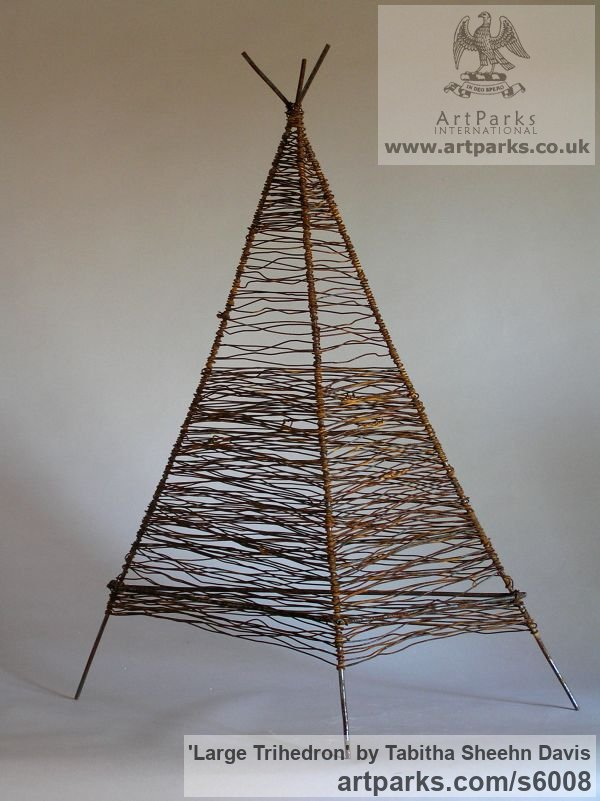 Wire Modern Abstract Contemporary Avant Garde Sculptures or Statues or statuettes or statuary sculpture by sculptor Tabitha Sheehn Davis titled: 'Large Trihedron (Little/Small Wire Pyramid Indoor statue/satatuettte)'