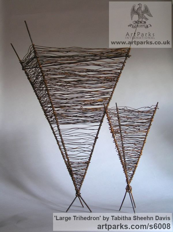 Wire Modern Abstract Contemporary Avant Garde Sculptures or Statues or statuettes or statuary sculpture by sculptor Tabitha Sheehn Davis titled: 'Large Trihedron (Little/Small Wire Pyramid Indoor statue/satatuettte)' - Artwork View 2