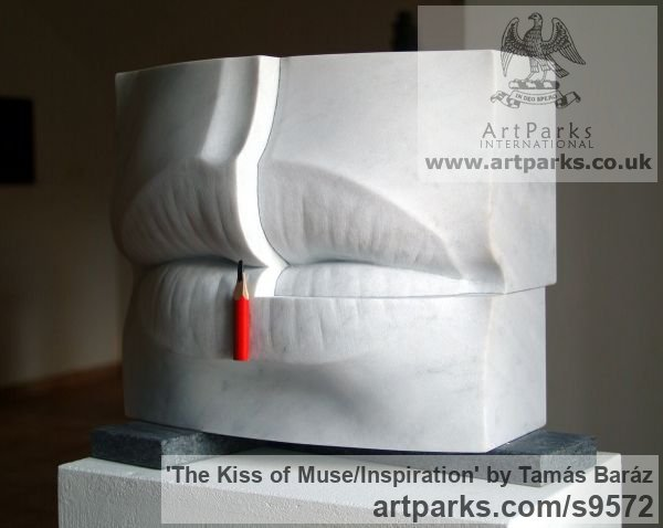 White carrara marble, pencil, granite Carved Abstract Contemporary Modern sculpture carving sculpture by sculptor Tamás Baráz titled: 'The Kiss of Muse/Inspiration (abstract Lips sculpture)' - Artwork View 2