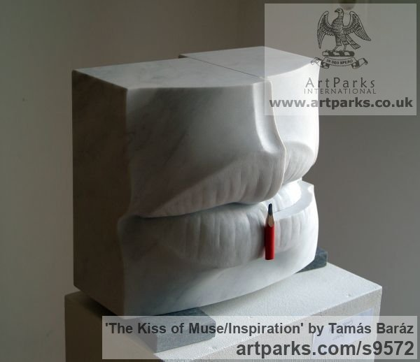 White carrara marble, pencil, granite Carved Abstract Contemporary Modern sculpture carving sculpture by sculptor Tamás Baráz titled: 'The Kiss of Muse/Inspiration (abstract Lips sculpture)' - Artwork View 3