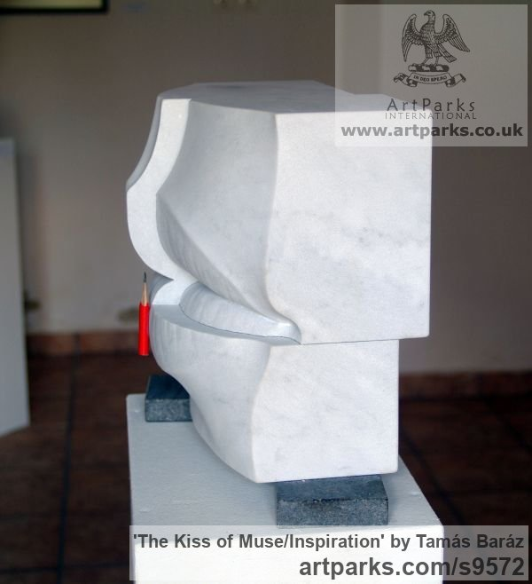 White carrara marble, pencil, granite Carved Abstract Contemporary Modern sculpture carving sculpture by sculptor Tamás Baráz titled: 'The Kiss of Muse/Inspiration (abstract Lips sculpture)' - Artwork View 4