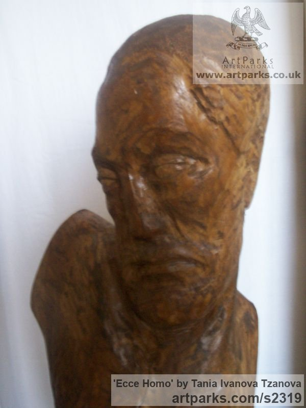 Wood Male Men Youths Masculine sculpturettes figurines sculpture by sculptor Tania Ivanova Tzanova titled: 'Ecce Homo (Rough Carved Wood Man garden/Yard Carving/sculpture)' - Artwork View 2