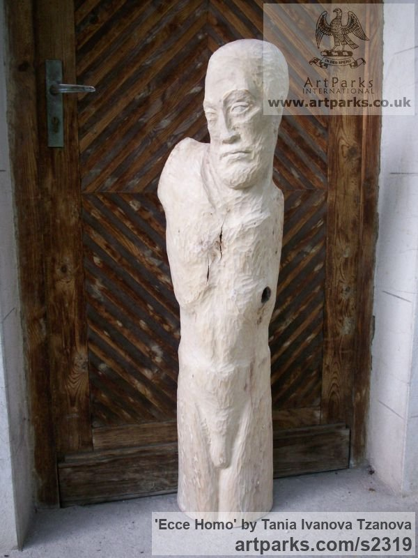Wood Male Men Youths Masculine sculpturettes figurines sculpture by sculptor Tania Ivanova Tzanova titled: 'Ecce Homo (Rough Carved Wood Man garden/Yard Carving/sculpture)' - Artwork View 3