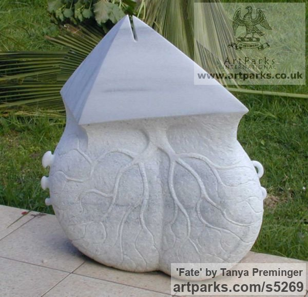 Marble Abstract Contemporary Modern Outdoor Outside Garden / Yard sculpture statuary sculpture by sculptor Tanya Preminger titled: 'Fate (marble Carved figurative abstract statues)'