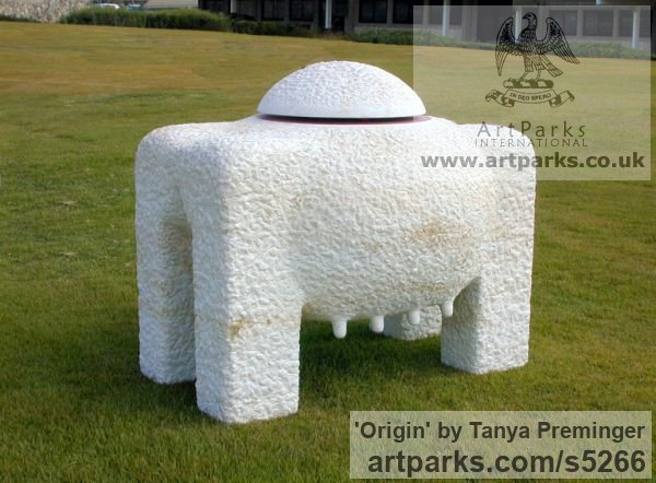 Mitzpe Stone Abstract Contemporary Modern Outdoor Outside Garden / Yard sculpture statuary sculpture by sculptor Tanya Preminger titled: 'Origin (abstract Big stone Animal Table statue)'