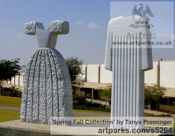 Marble Garden Or Yard / Outside and Outdoor sculpture by sculptor Tanya Preminger titled: 'Spring Fall Collection (Carved stone Couture Fashion Clothes statue)'
