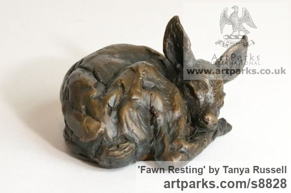 Foundry Bronze Deer sculpture by sculptor Tanya Russell titled: 'Fawn Resting (Little Small Baby Deer Sleeping statuette)' - Artwork View 2
