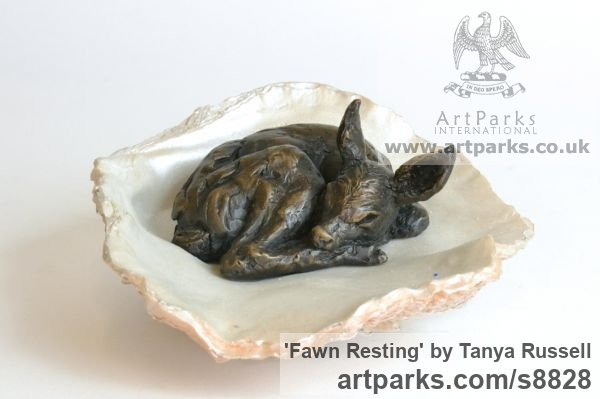 Foundry Bronze Deer sculpture by sculptor Tanya Russell titled: 'Fawn Resting (Little Small Baby Deer Sleeping statuette)' - Artwork View 3