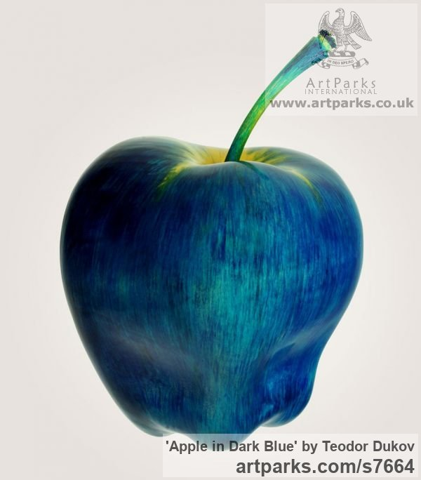 Wood,pigments,oil Varietal cross section of Floral, Fruit and Plantlife sculpture by sculptor Teodor Dukov titled: 'Apple in Dark Blue (Large Wood Carved Fruit sculptures)'