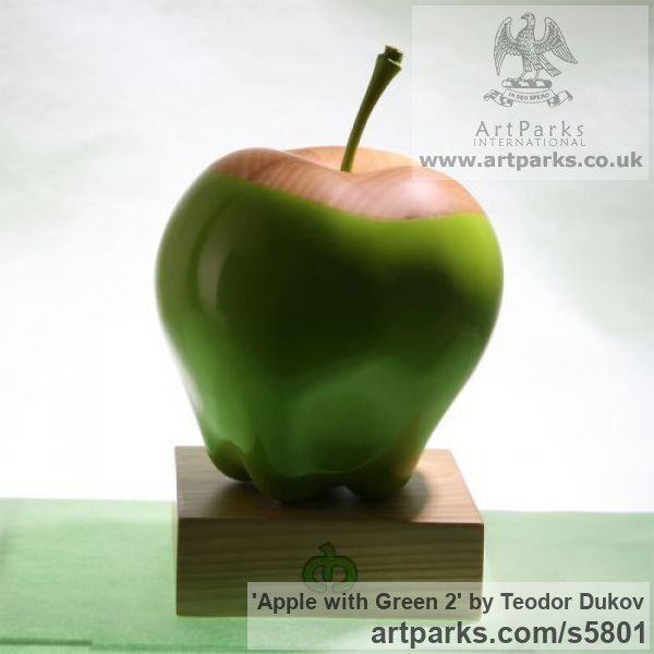 Wood,pigments,oil Outsize, Very Big, Extra Large and Massive sculpture by sculptor Teodor Dukov titled: 'Apple with Green 2 (Big Outsize Carved Wood Painted Fruit sculptures)' - Artwork View 3