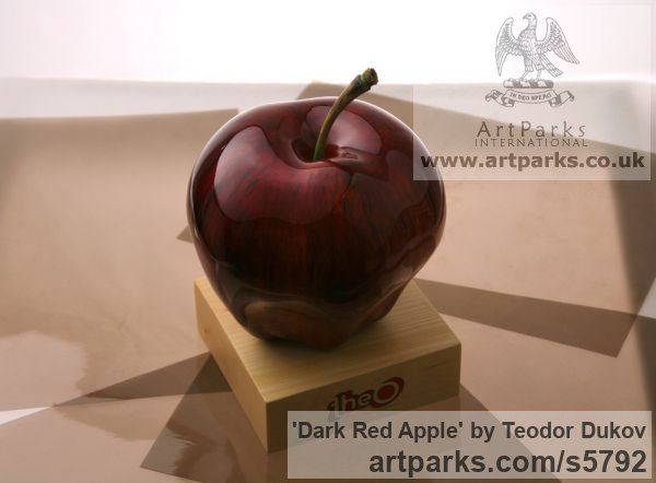 Wood,pigments,varnish Outsize, Very Big, Extra Large and Massive sculpture by sculptor Teodor Dukov titled: 'Dark Red Apple (Big Carved Wood Passion sculptures)' - Artwork View 2