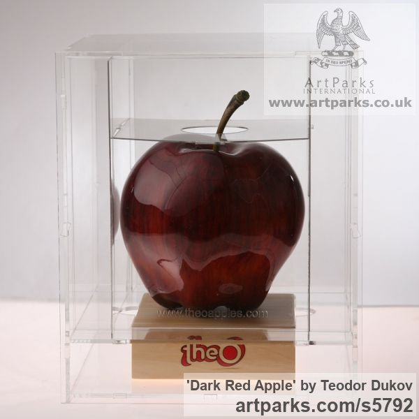 Wood,pigments,varnish Outsize, Very Big, Extra Large and Massive sculpture by sculptor Teodor Dukov titled: 'Dark Red Apple (Big Carved Wood Passion sculptures)' - Artwork View 3