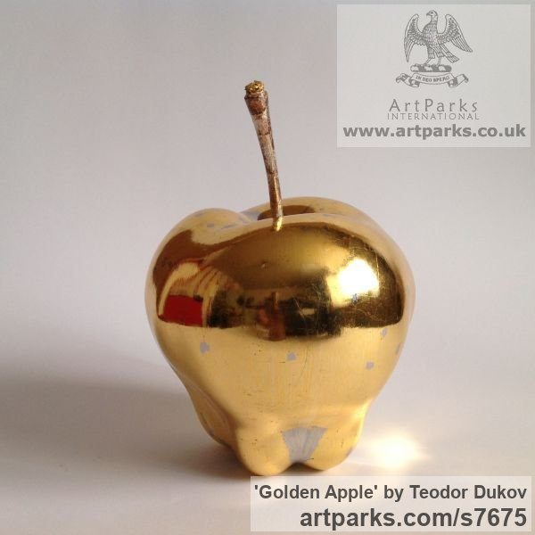 Wood,poliment ground,23 carat gold leave Varietal cross section of Floral, Fruit and Plantlife sculpture by sculptor Teodor Dukov titled: 'Golden Apple (Large Wood Carved Fruit sculptures)' - Artwork View 1