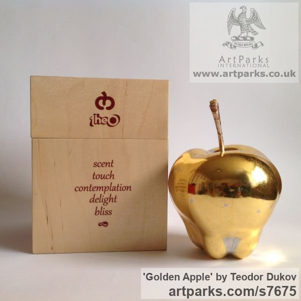 Wood,poliment ground,23 carat gold leave Varietal cross section of Floral, Fruit and Plantlife sculpture by sculptor Teodor Dukov titled: 'Golden Apple (Large Wood Carved Fruit sculptures)' - Artwork View 2