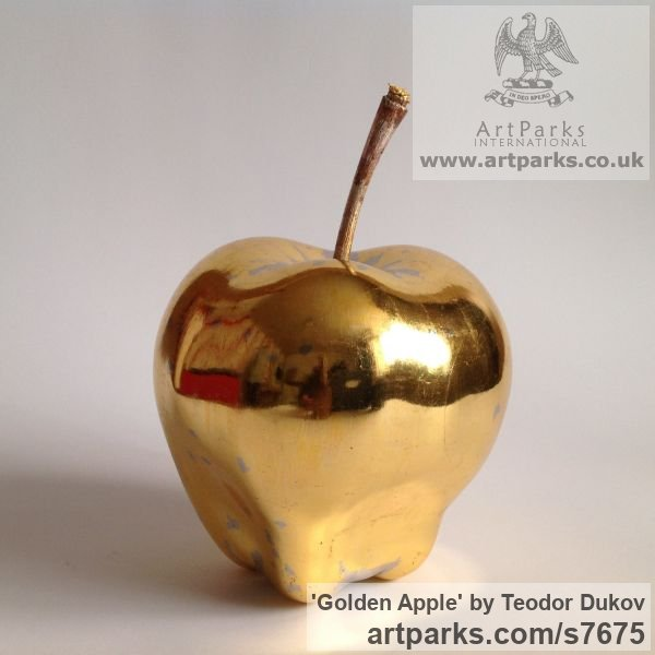 Wood,poliment ground,23 carat gold leave Varietal cross section of Floral, Fruit and Plantlife sculpture by sculptor Teodor Dukov titled: 'Golden Apple (Large Wood Carved Fruit sculptures)' - Artwork View 4
