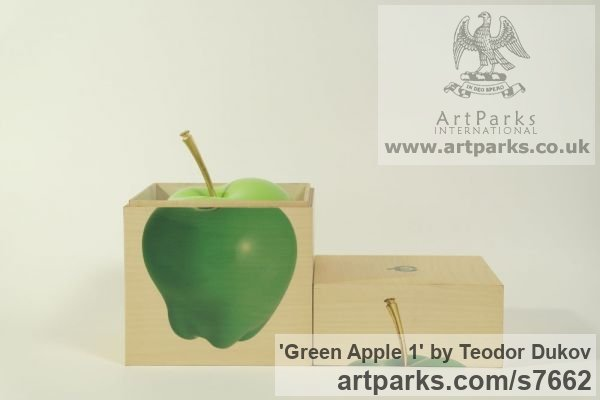 Wood,varnish Outsize Big Large Fruit Flower Plant sculpture statuaryGarden Ornament sculpture by sculptor Teodor Dukov titled: 'Green Apple 1 (Carved Wood Painted Outsize Fruit statues Carving)' - Artwork View 3