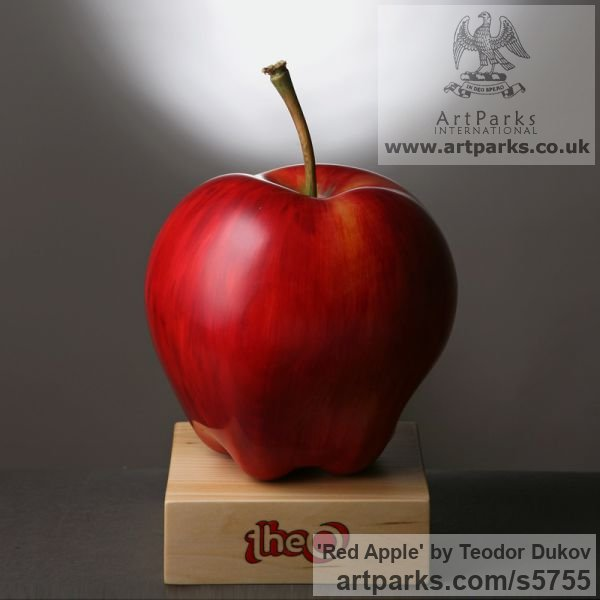 Wood,pigments,oil Painted Coloured Tinted Patinated Enamelled sculpture statuettes sculpture by sculptor Teodor Dukov titled: 'Red Apple (Large Wood Carved Fruit sculptures)'