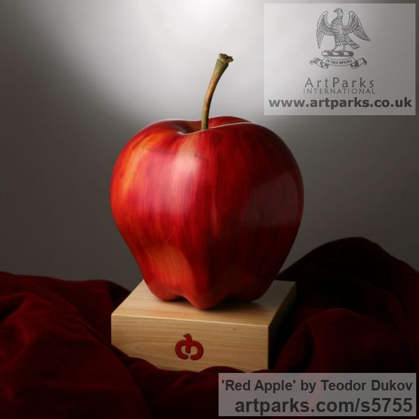 Wood,pigments,oil Painted Coloured Tinted Patinated Enamelled sculpture statuettes sculpture by sculptor Teodor Dukov titled: 'Red Apple (Large Wood Carved Fruit sculptures)' - Artwork View 2