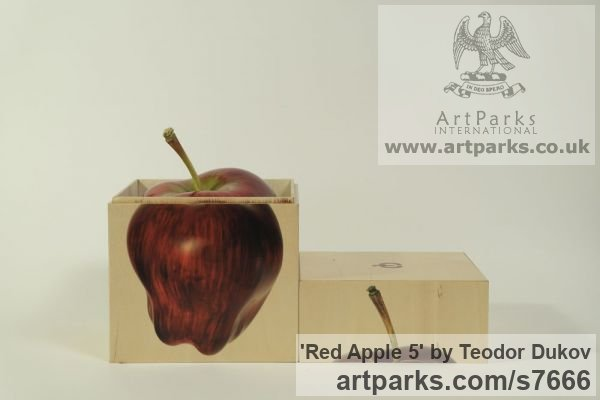 Wood,pigments,oil Painted Coloured Tinted Patinated Enamelled sculpture statuettes sculpture by sculptor Teodor Dukov titled: 'Red Apple 5 (Carved Fruit Painted and Polished sculpturettes)' - Artwork View 3