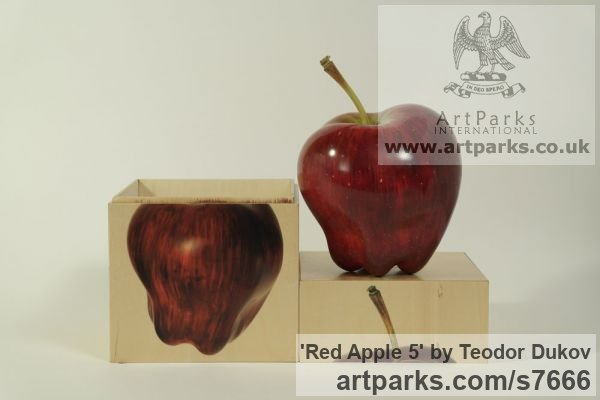 Wood,pigments,oil Painted Coloured Tinted Patinated Enamelled sculpture statuettes sculpture by sculptor Teodor Dukov titled: 'Red Apple 5 (Carved Fruit Painted and Polished sculpturettes)' - Artwork View 4