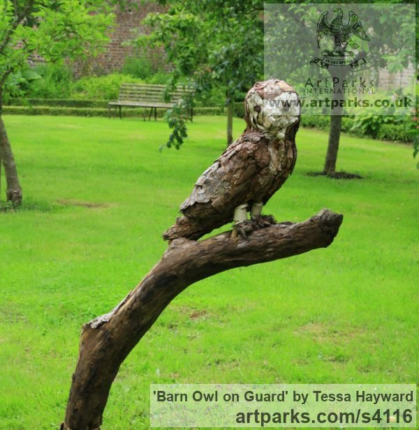 Wood, metal, bark Varietal Mix of Bird Sculptures or sculpture by sculptor Tessa Hayward titled: 'Barn Owl on guard (Perched statuette in wood objects truovees statues)'