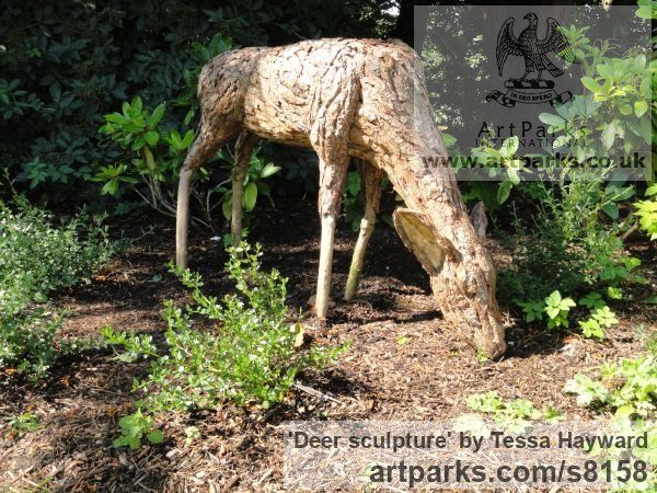 Deer sculpture by sculptor Tessa Hayward titled: 'Feeding Doe (Scrap Wood and Bark life size Deer statue)' - Artwork View 2