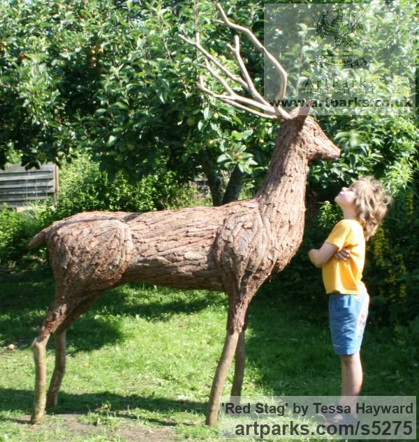 Garden Or Yard / Outside and Outdoor sculpture by sculptor Tessa Hayward titled: 'Red Stag (life size Deer garden statue of Found Objects)'