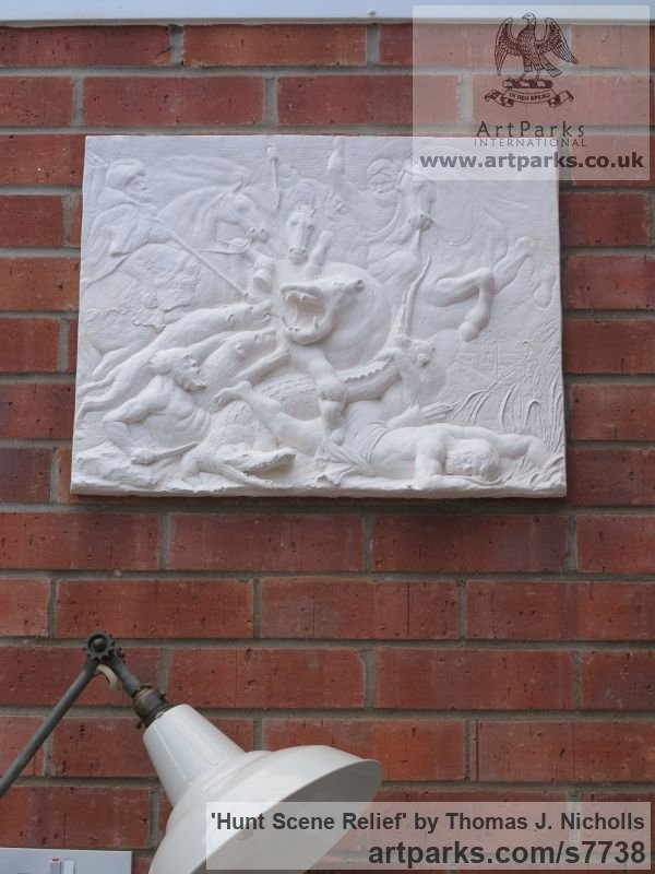 Plaster Horse Sculpture / Equines Race Horses Pack HorseCart Horses Plough Horsess sculpture by sculptor Thomas J. Nicholls titled: 'Hunt Scene Relief (Relief sculpture Commission)' - Artwork View 4