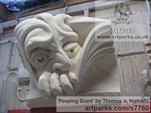 Bath Stone Garden Or Yard / Outside and Outdoor sculpture by sculptor Thomas J. Nicholls titled: 'Peeping Giant (Grotesque sculpture Wall panel stone Carving)'