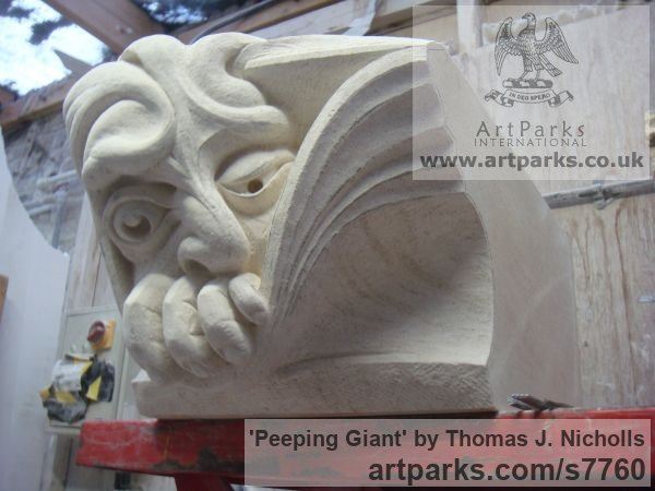 Bath Stone Garden Or Yard / Outside and Outdoor sculpture by sculptor Thomas J. Nicholls titled: 'Peeping Giant (Grotesque sculpture Wall panel stone Carving)' - Artwork View 2