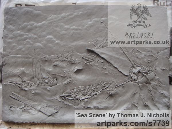 Plaster Wall Panel Carved Engraved Cast Moulded sculpture plaque sculpture by sculptor Thomas J. Nicholls titled: 'Sea Scene (Low Relief Wall Mounted Maritime Plaque Panel Plaster Cast)' - Artwork View 2