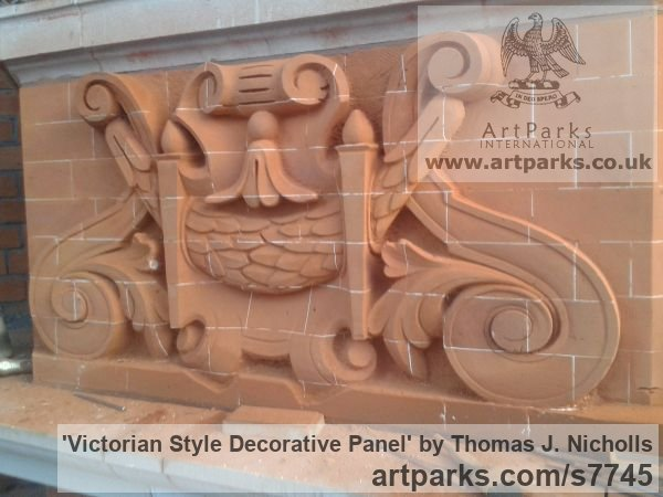 Carved Brick Wall Panel Carved Engraved Cast Moulded sculpture plaque sculpture by sculptor Thomas J. Nicholls titled: 'Victorian Style Decorative Panel (Carved Brick Wall Scrolls and follia)'