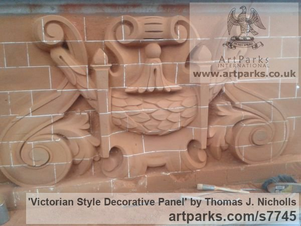 Carved Brick Wall Panel Carved Engraved Cast Moulded sculpture plaque sculpture by sculptor Thomas J. Nicholls titled: 'Victorian Style Decorative Panel (Carved Brick Wall Scrolls and follia)' - Artwork View 2