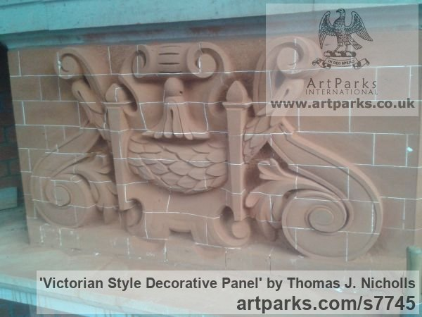 Carved Brick Wall Panel Carved Engraved Cast Moulded sculpture plaque sculpture by sculptor Thomas J. Nicholls titled: 'Victorian Style Decorative Panel (Carved Brick Wall Scrolls and follia)' - Artwork View 3