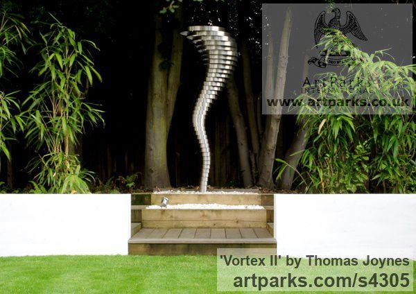 Stainless steel Spiral Twisted sculpture / statue / carving sculpture by sculptor Thomas Joynes titled: 'Vortex II (stainless Steel Whirlwind Modern Feature sculpture/statue)'