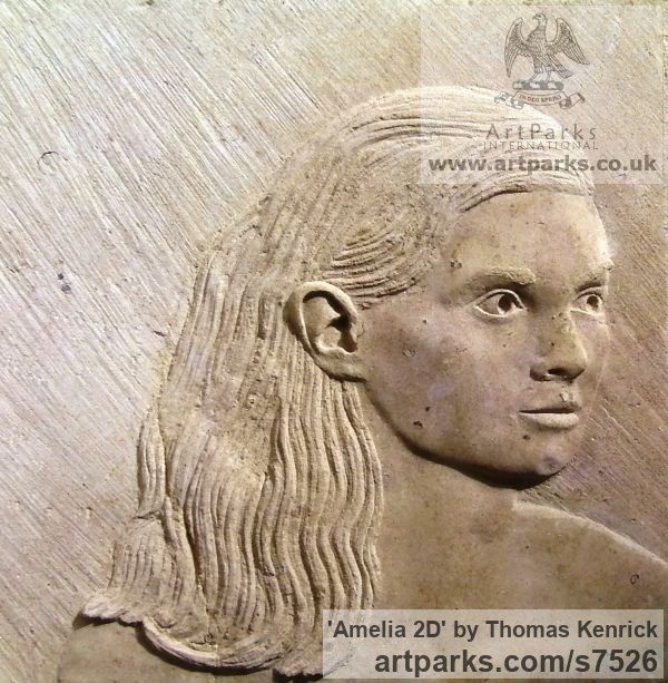 Limestone stone Females Women Girls Ladies sculpture statuettes figurines sculpture by sculptor Thomas Kenrick titled: 'Amelia 2D'