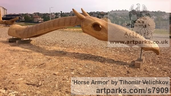 Oak Horse Sculpture / Equines Race Horses Pack HorseCart Horses Plough Horsess sculpture by sculptor Tihomir Velichkov titled: 'Horse Armor'