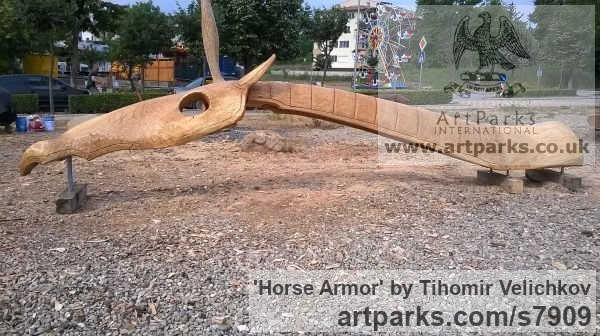 Oak Horse Sculpture / Equines Race Horses Pack HorseCart Horses Plough Horsess sculpture by sculptor Tihomir Velichkov titled: 'Horse Armor' - Artwork View 4