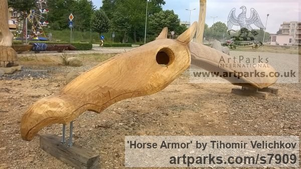 Oak Horse Sculpture / Equines Race Horses Pack HorseCart Horses Plough Horsess sculpture by sculptor Tihomir Velichkov titled: 'Horse Armor' - Artwork View 5