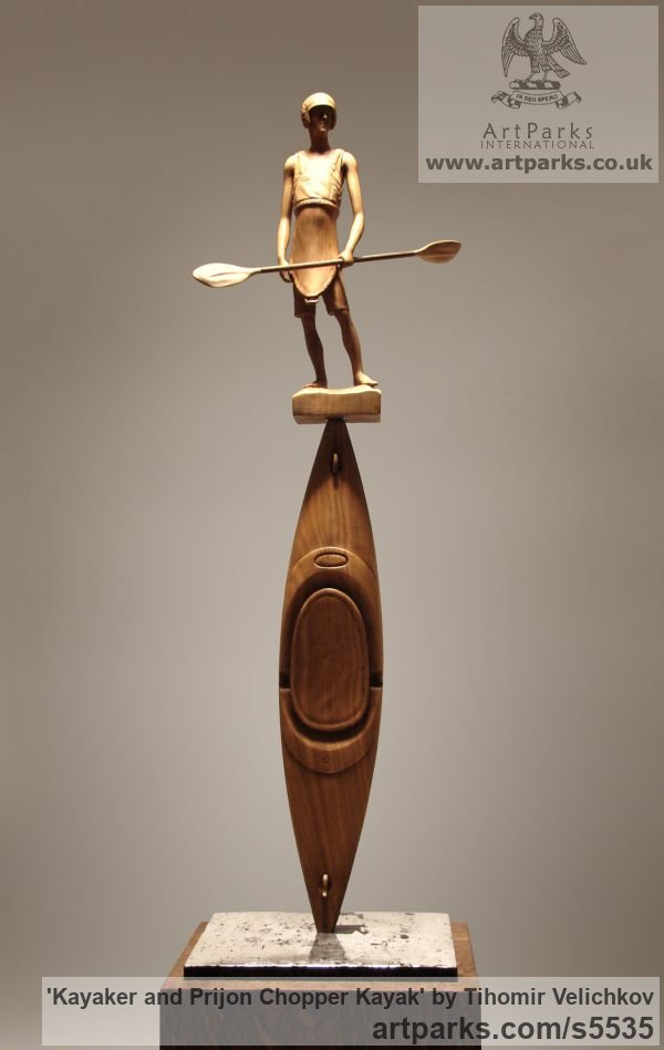Cherry wood and polished silver Male Men Youths Masculine sculpturettes figurines sculpture by sculptor Tihomir Velichkov titled: 'Kayaker and Prijon Chopper Kayak (Canoe Carved Wood statuette/figurine)'