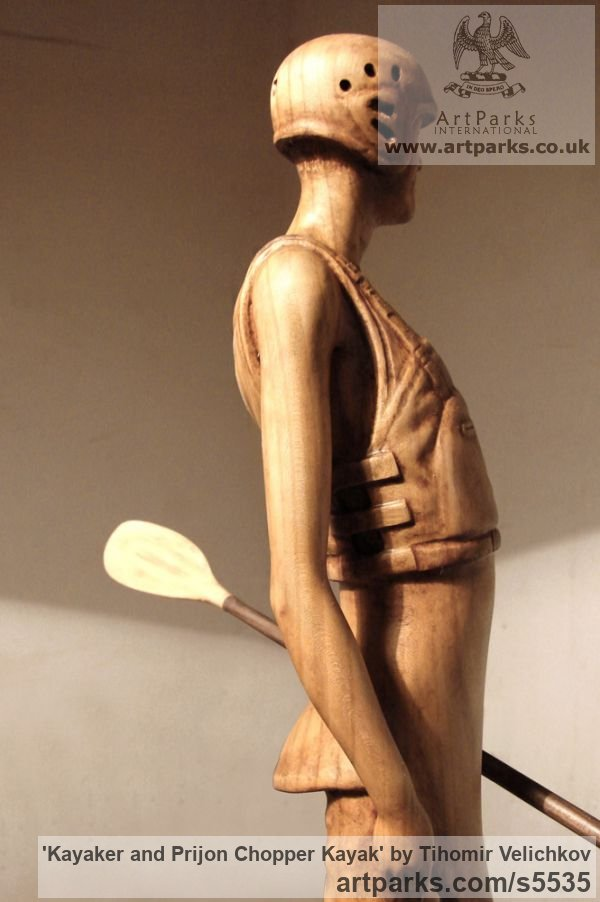 Cherry wood and polished silver Male Men Youths Masculine sculpturettes figurines sculpture by sculptor Tihomir Velichkov titled: 'Kayaker and Prijon Chopper Kayak (Canoe Carved Wood statuette/figurine)' - Artwork View 2