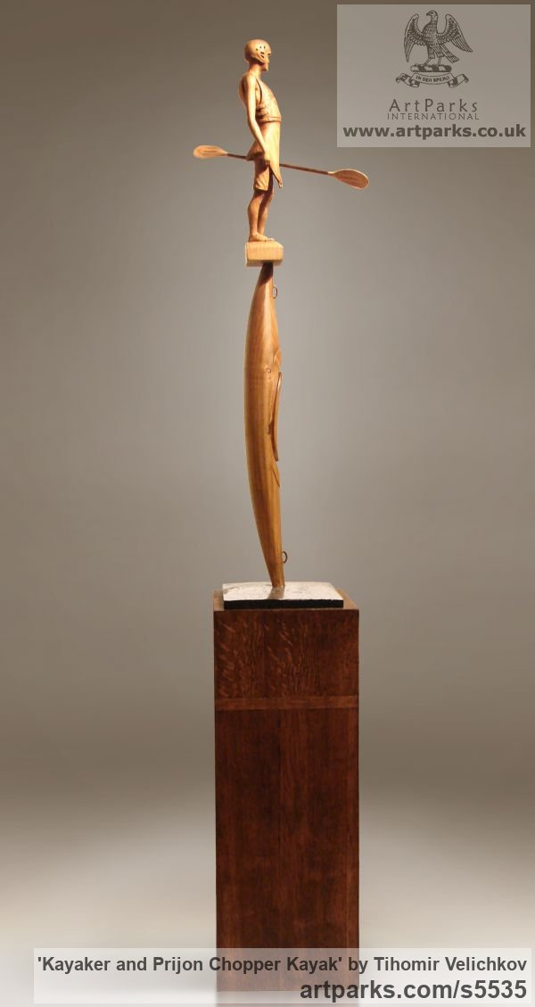 Cherry wood and polished silver Male Men Youths Masculine sculpturettes figurines sculpture by sculptor Tihomir Velichkov titled: 'Kayaker and Prijon Chopper Kayak (Canoe Carved Wood statuette/figurine)' - Artwork View 4