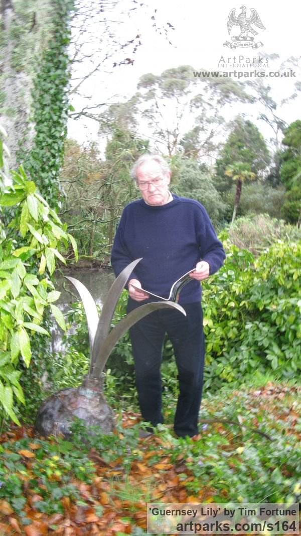 Stainless Steel & Copper Garden Or Yard / Outside and Outdoor sculpture by sculptor Tim Fortune titled: 'Guernsey Lily (Nerine Sarniensis Lily Bulb Steel statue)' - Artwork View 2